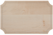 Wood cutting board with notched corners and juice groove